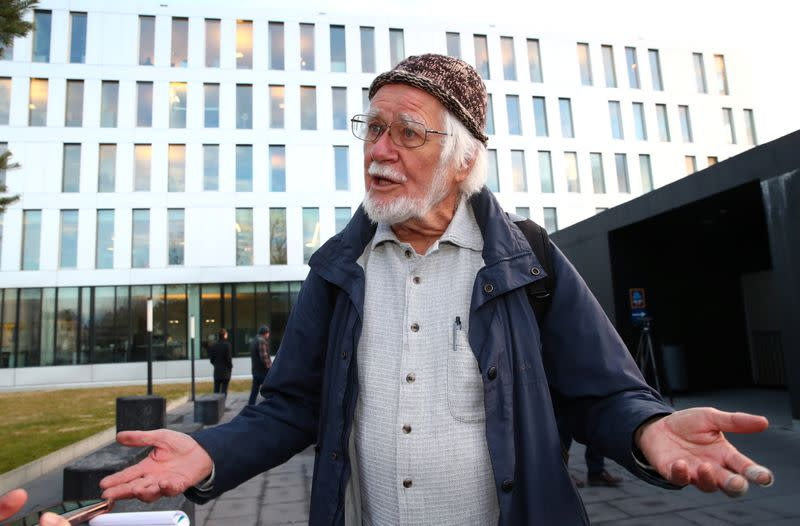 2017 Nobel Prize in Chemistry laureate Dubochet speaks to Reuters outside the District Court of West Lausanne in 2018 in Lausanne