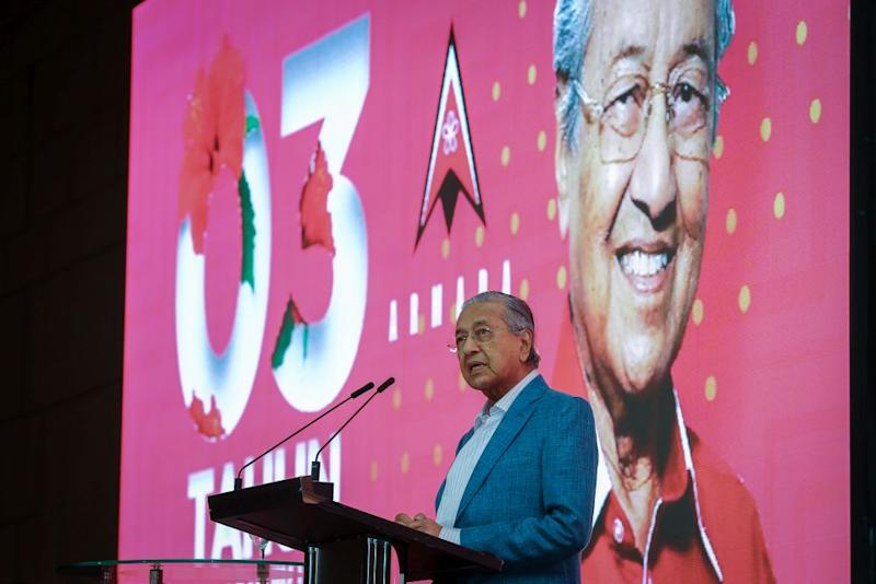 Bersatu chairman Tun Dr Mahathir Mohamad speaks during an Armada fundraiser at the Setia City Convention Centre in Shah Alam December 2, 2019. — Picture by Yusof Mat Isa
