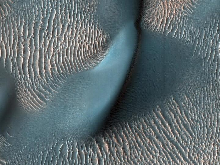 NASA's Mars Reconnaissance Orbiter captured these sand ripples and the large dune