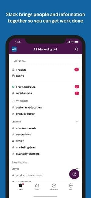 Screenshot of the Slack app showing collaborating and communicating with team mates