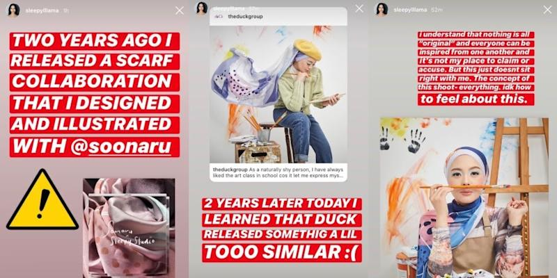 @sleepylllama posts a series of Instagram stories highlighting how Vivy Yusof copied her headscarf design and photoshoot concept. Photo: Instagram @sleepylllama