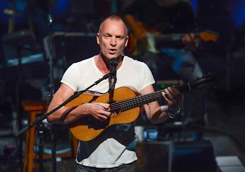 """FILE - This Sept. 25, 2013 file photo shows British singer Sting performing """"An Evening With Sting: The Last Ship"""" at The Public Theater in New York. After a successful run with his seminal band, The Police, and the prolific solo career that followed, his first new recording in nearly a decade """"The Last Ship,"""" may be his most ambitious project. (Photo by Evan Agostini/Invision/AP, File)"""