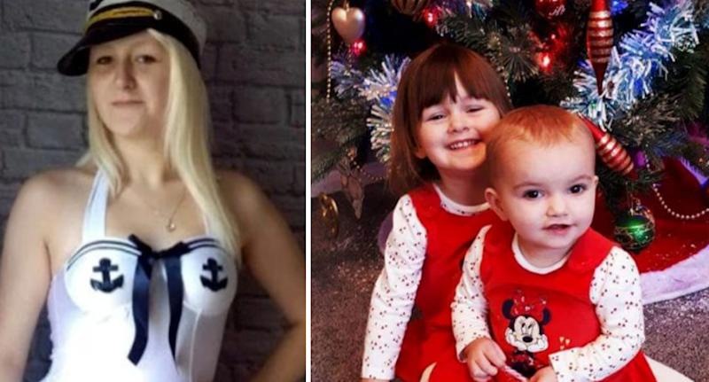 Ms Porton posing in white sailor girl outfit (left). The two girls smile in Christmas outfits (right).