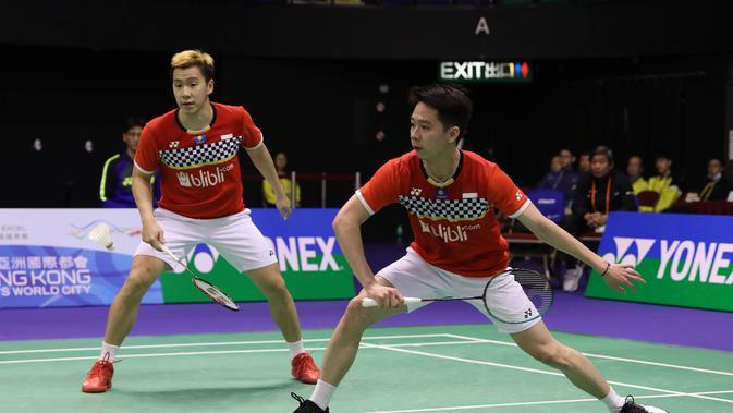 Ganda putra Indonesia Kevin Sanjaya Sukamuljo / Marcus Fernaldi Gideon tersingkir dari Hong Kong Open 2019 setelah kalah dari pasangan Jepang, Hiroyuki Endo / Yuta Watanabe di Hong Kong Coliseum, Jumat (15/11/2019). (foto: PBSI)