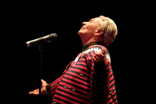 FILE - In this May 30, 2007 file photo, singer Chavela Vargas performs in concert in Guadalajara, Mexico. Vargas, 93, died on Sunday, Aug. 5, 2012, after being hospitalized recently due to cardiac and renal problems. (AP Photo/Guillermo Arias, File)
