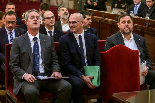 The vice-president of Spain's Senate concluded that Catalan leader Raul Romeva (C, pictured February 2019) had to be automatically suspended since he is in jail
