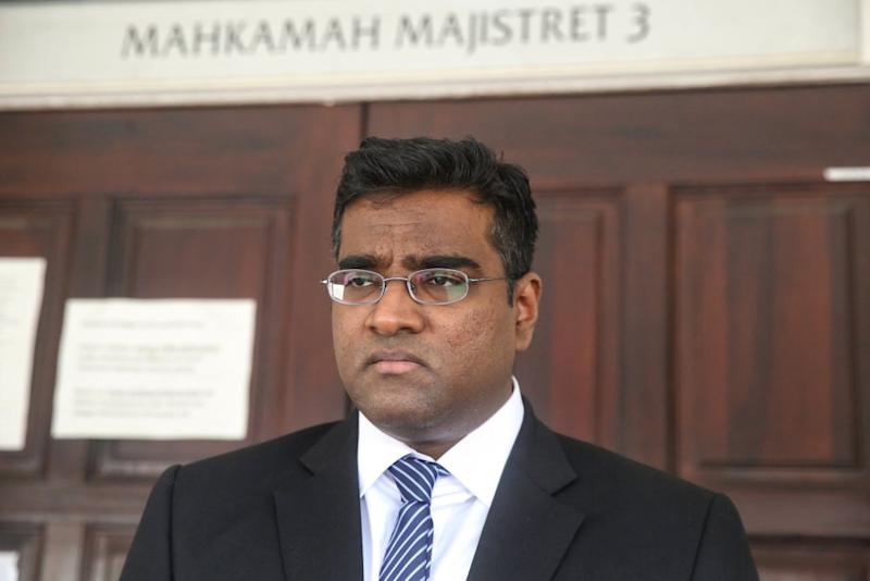 Lawyer Rajesh Nagarajan is seen at the Petaling Jaya Magistrate's Court October 18, 2019. ― Picture by Choo Choy May