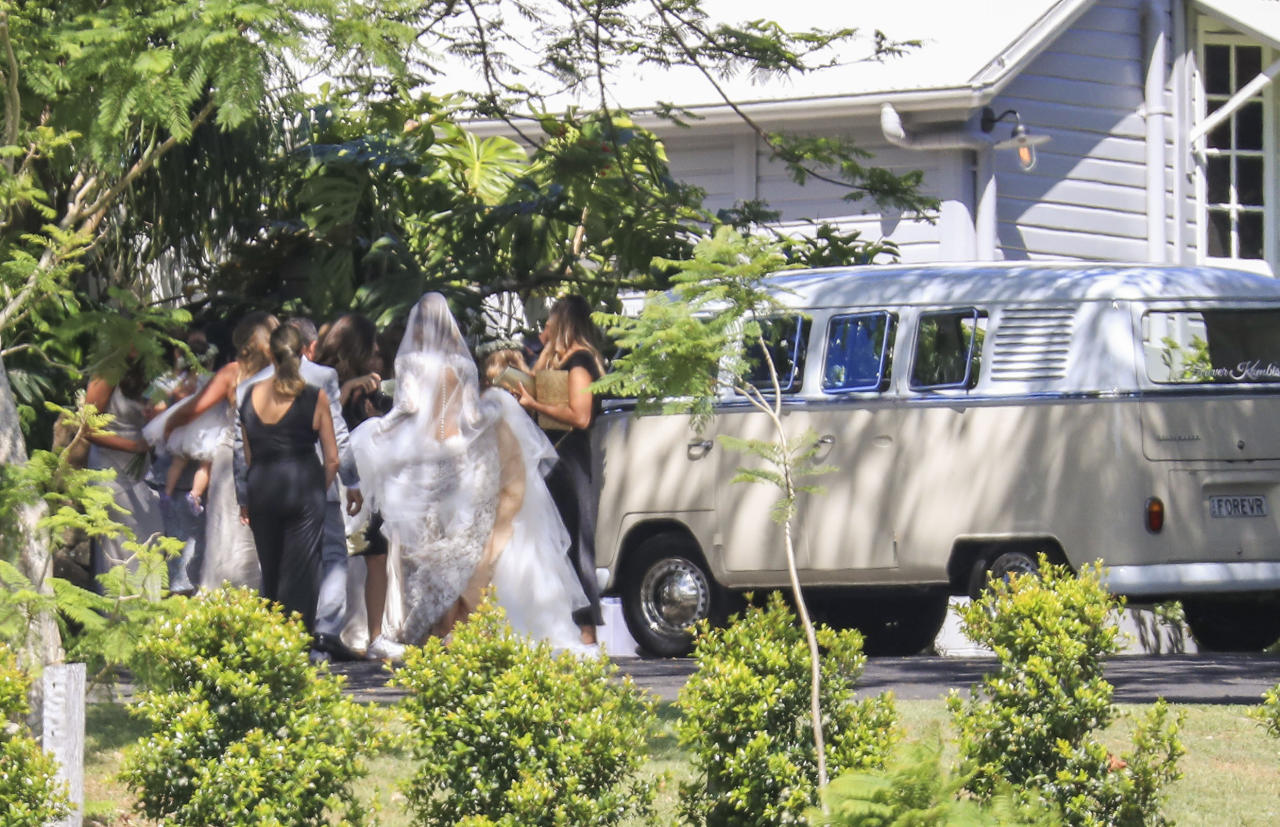 <p>The bridal party were spotted arriving in a beige kombi van at the Fig Tree Restaurant in the region's iconic Hinterland. Source: Media Mode </p>