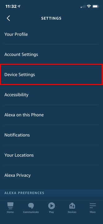 Amazon Alexa iPhone Device Settings