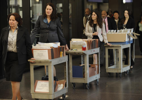 Documents pertaining to the William Balfour murder trial at the Cook County Criminal Court are wheeled into court on the first day of the trial in Chicago Monday, April 23, 2012. Balfour is charged in the 2008 murder of Oscar winning actress and singer Jennifer Hudson's mother, brother and nephew. (AP Photo/Paul Beaty)