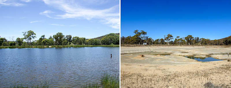 A photo taken in 2017 shows a dam full of water, a photo taken in 2019 shows a dry dam