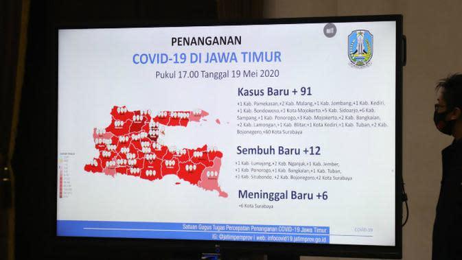 Peta persebaran Corona COVID-19 di Jawa Timur pada Selasa, 19 Mei 2020. (Foto: Liputan6.com/Dian Kurniawan)