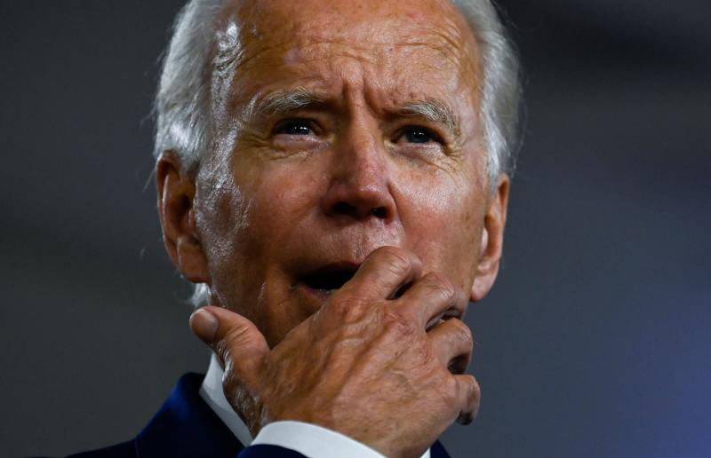 """US Democratic presidential candidate and former Vice President Joe Biden gestures as he speaks during a campaign event at the William """"Hicks"""" Anderson Community Center in Wilmington, Delaware on July 28, 2020. (Andrew Caballero-Reynolds/AFP via Getty Images)"""