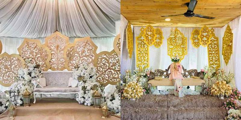 Siti Zulaikha said her actual wedding decorations (right) had failed to live up to the bridal boutique's images on Instagram (left). — Pictures from Twitter/ctzzulaikha