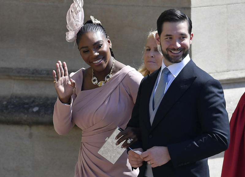 Serena Williams and her husband Alexis Ohanian arrive for the wedding ceremony of Britain's Prince Harry, Duke of Sussex and US actress Meghan Markle at St George's Chapel, Windsor Castle, in Windsor, on May 19, 2018. (Photo by TOBY MELVILLE / POOL / AFP) (Photo credit should read TOBY MELVILLE/AFP/Getty Images)
