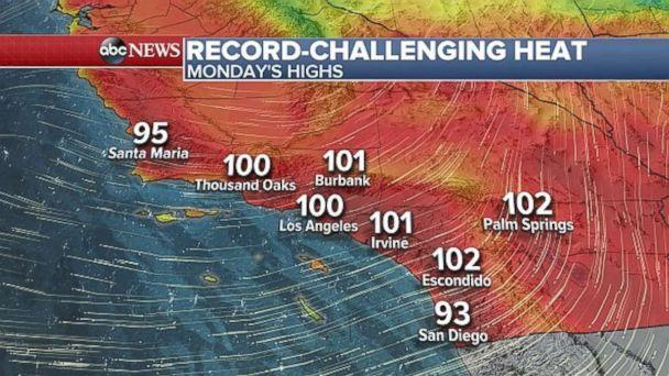 PHOTO: A weather map of Southern California, where temperatures are forecast to hit dangerous triple digits levels on Monday. (ABC News )