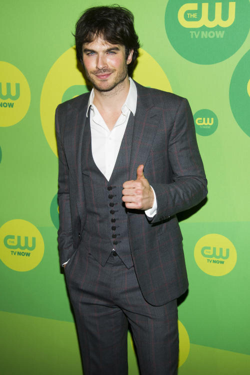 "Ian Somerhalder, from ""The Vampire Diaries,"" attends the CW Upfront on Thursday, May 16, 2013 in New York. (Photo by Charles Sykes/Invision/AP)"