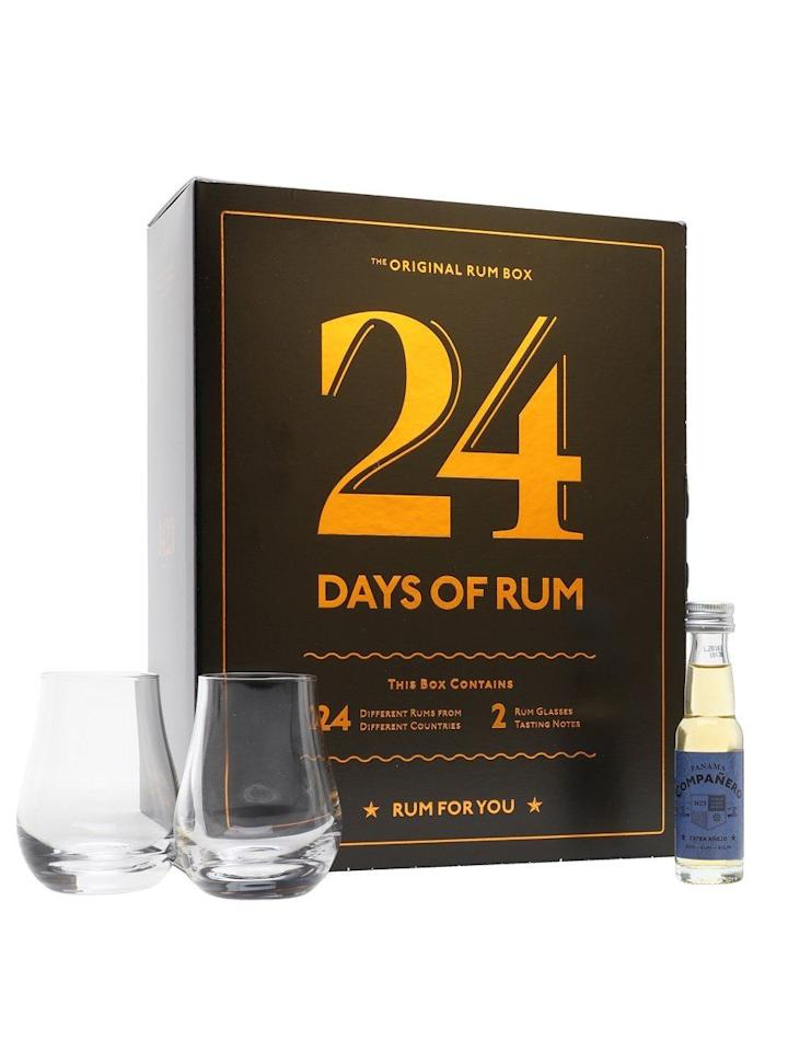 """<p><strong></strong></p><p>thewhiskyexchange.com</p><p><strong>£79.95</strong></p><p><a href=""""https://go.redirectingat.com?id=74968X1596630&url=https%3A%2F%2Fwww.thewhiskyexchange.com%2Fp%2F50200%2F24-days-of-rum-advent-calendar-24x2cl&sref=https%3A%2F%2Fwww.goodhousekeeping.com%2Fholidays%2Fgift-ideas%2Fg29704218%2Fbest-alcohol-advent-calender-ideas%2F"""" target=""""_blank"""">Shop Now</a></p><p>We're brushing up on our classic cocktail skills just in time for the arrival of the 24 Days of Rum box. It even comes with two rum glasses in the event you prefer to sip slowly rather than play mixologist. </p><p><strong>RELATED: </strong><a href=""""https://www.goodhousekeeping.com/food-recipes/g28669841/best-classic-cocktails/"""" target=""""_blank"""">16 Totally Delicious Classic Cocktails to Make at Home</a></p>"""