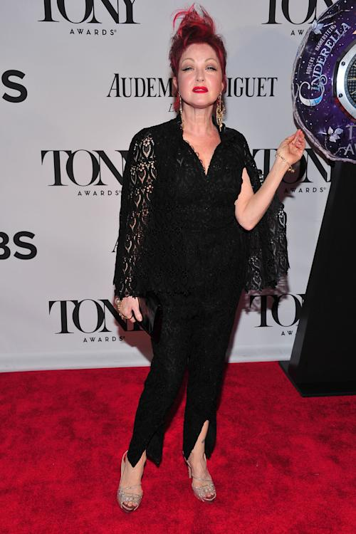 Tony Award nominee Cyndi Lauper arrives on the red carpet at the 67th Annual Tony Awards, on Sunday, June 9, 2013 in New York. (Photo by Charles Sykes/Invision/AP)