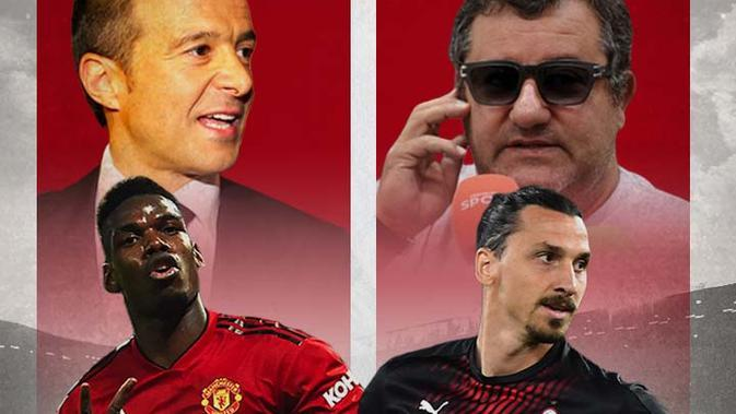 Ilustrasi - Jorge Mendes, Mino Raiola, Paul Pogba, Zlatan Ibrahimovic (Bola.com/Adreanus Titus)