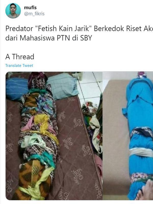 Viral sebuah kisah terkait Gilang dan riset anehnya yang meminta korban membungkus dirinya seperti pocong. Korban pun membuat sebuah utas dengan nama Predator Fetish Kain Jarik Berkedok Riset Akademik dari Mahasiswa PTN di SBY. (Twitter)