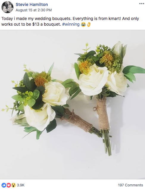 Kmart Mums of Australia wedding bouquet hack