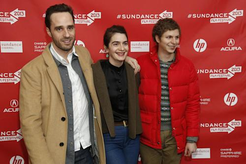 "Director Sebastian Silva, left, actress Gaby Hoffmann, center, and actor Michael Cera, right, pose at the premiere of ""Crystal Fairy"" during the 2013 Sundance Film Festival on Thursday, Jan. 17, 2013 in Park City, Utah. (Photo by Danny Moloshok/Invision/AP)"