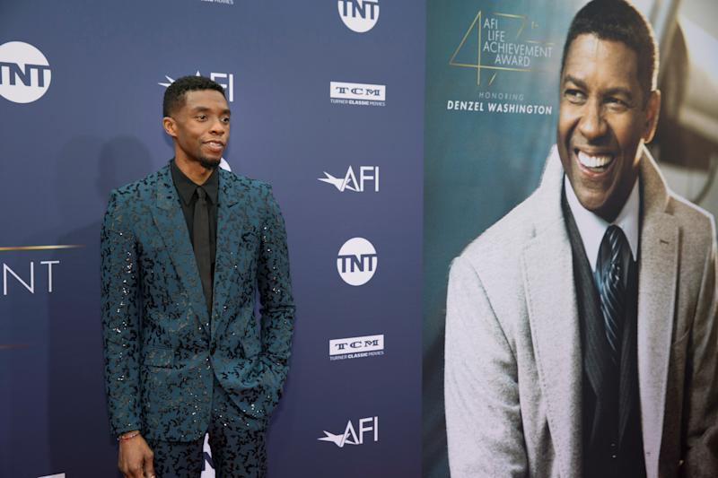 Chadwick Boseman arrives at the 47th AFI Life Achievement Award gala honoring actor Denzel Washington in Los Angeles, California, U.S., June 6, 2019. REUTERS/Monica Almeida
