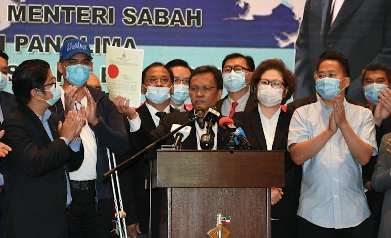 Shafie announces the dissolution of the State Legislative Assembly at the Sabah State Administrative Centre in Kota Kinabalu July 30, 2020. ― Bernama pic