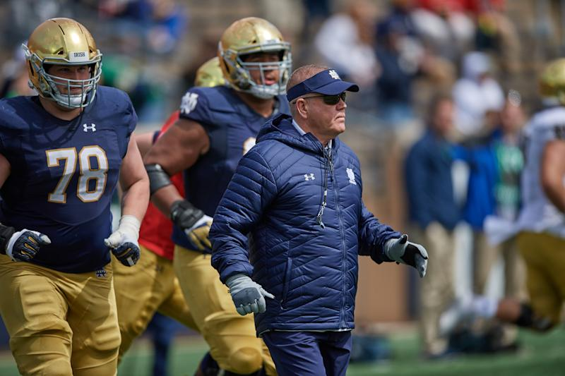 SOUTH BEND, IN - APRIL 13: Notre Dame Fighting Irish head coach Brian Kelly looks on in action during the Notre Dame Football Blue and Gold Spring game on April 13, 2019 at Notre Dame Stadium in South Bend, IN. (Photo by Robin Alam/Icon Sportswire via Getty Images)