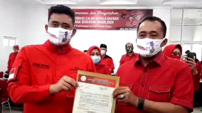 DPP Partai Demokrasi Indonesia Perjuangan (PDIP) hari ini, Selasa (11/82020) resmi mengumumkan pasangan Bobby Nasution dan Aulia Rachman maju di Pilkada Medan.