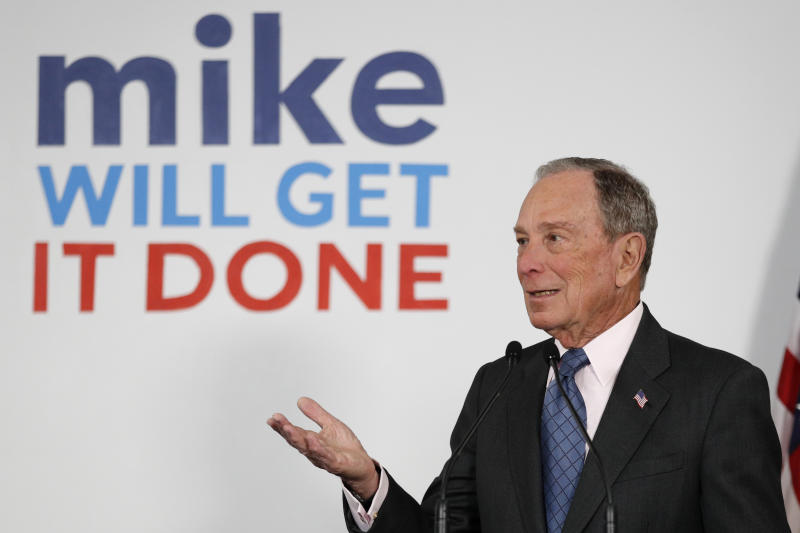 Democratic presidential candidate and former New York City Mayor Michael Bloomberg speaks to supporters at a campaign office, Monday, Jan. 27, 2020, in Scarborough, Maine. (AP Photo/Robert F. Bukaty)