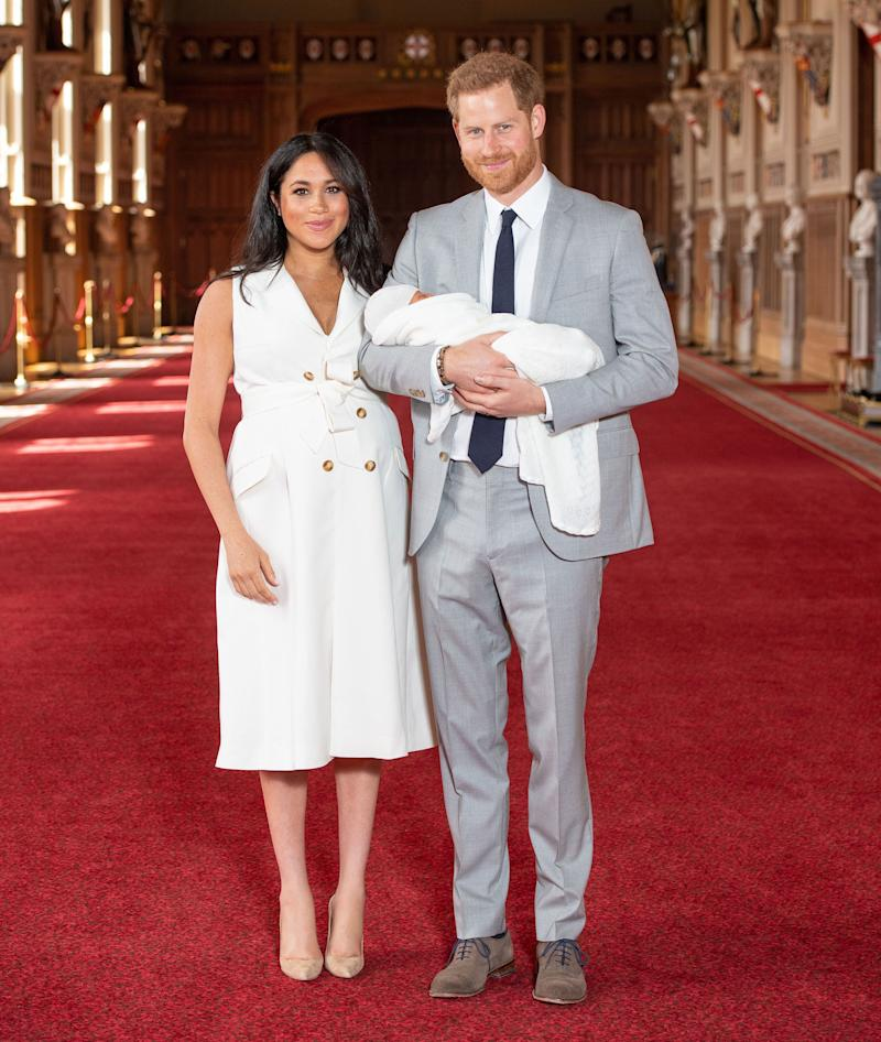 The Duke and Duchess of Sussex with their baby son, who was born on Monday morning, during a photocall in St George's Hall at Windsor Castle in Berkshire. Photo: AAP