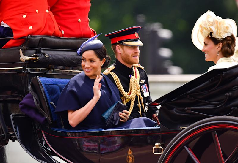 LONDON, ENGLAND - JUNE 08: Meghan, Duchess of Sussex, Prince Harry, Duke of Sussex and Catherine, Duchess of Cambridge leave Buckingham Palace in a carriage during Trooping The Colour, the Queen's annual birthday parade, on June 8, 2019 in London, England. (Photo by James Devaney/Getty Images)