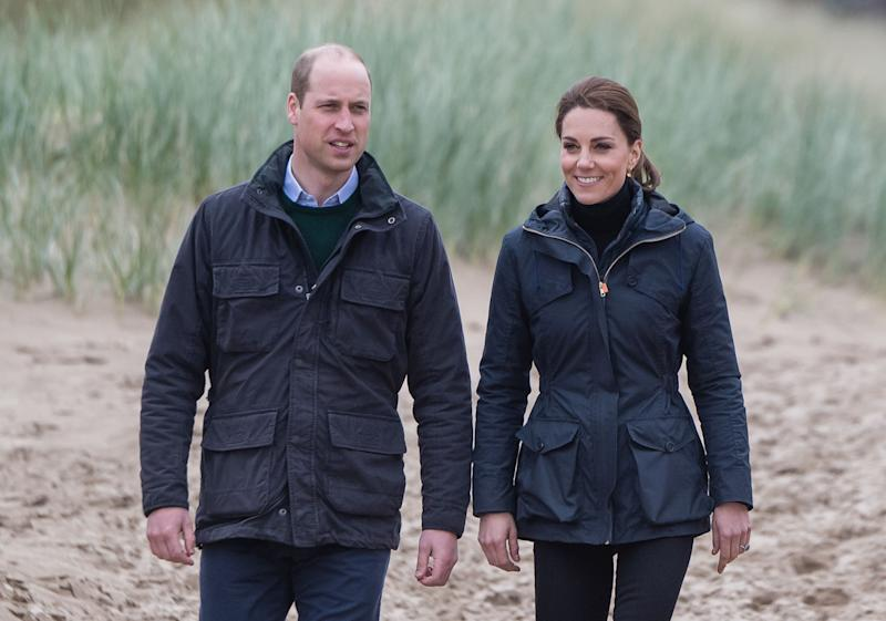 Prince William, Duke of Cambridge and Catherine, Duchess of Cambridge visit Newborough Beach to join the Menai Bridge Scouts as they explore the beach's wildlife habitat during a visit to North Wales on May 8, 2019 in Caernarfon, United Kingdom. (Photo by Samir Hussein/Samir Hussein/WireImage)
