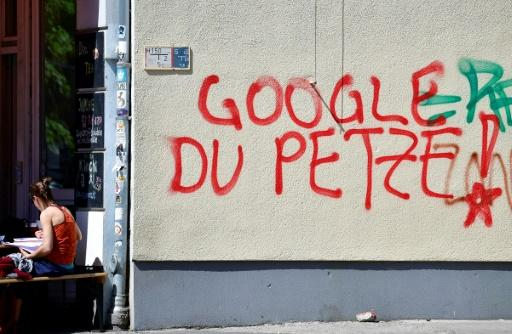 """Google, you snitch!"" reads this graffiti, which appears to accuse the tech giant of passing on information to security services"
