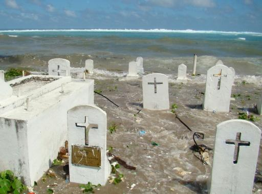 A cemetery in Majuro Atoll is flooded during high tide in the low-lying Marshall Islands, a Pacific atoll chain that sits barely a metre above sea level