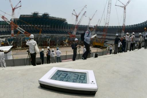 A thermometer shows the temperature exceeding 40 Celsius last week at the construction site for the new National Stadium, centrepiece for the Tokyo 2020 Olympic Games which will open in exactly two years' time
