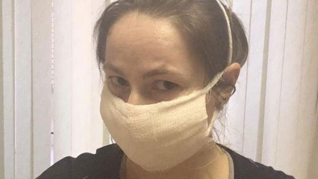 Irina with a makeshift face mask