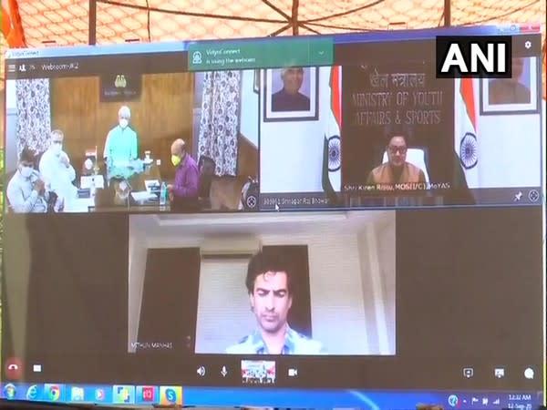 Jammu and Kashmir Lieutenant Governor Manoj Sinha laid the foundation of Arun Jaitely Memorial Sports Complex at Hiranagar in Kathua district, via video conferencing. (Photo/ANI)