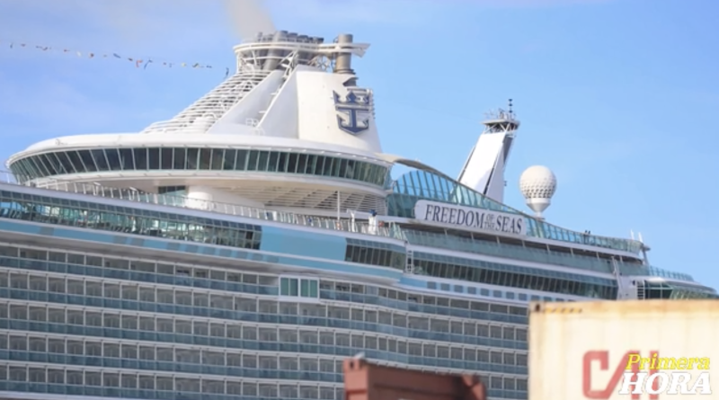The Freedom of the Seas cruise ship docked in Puerto Rico following the incident.