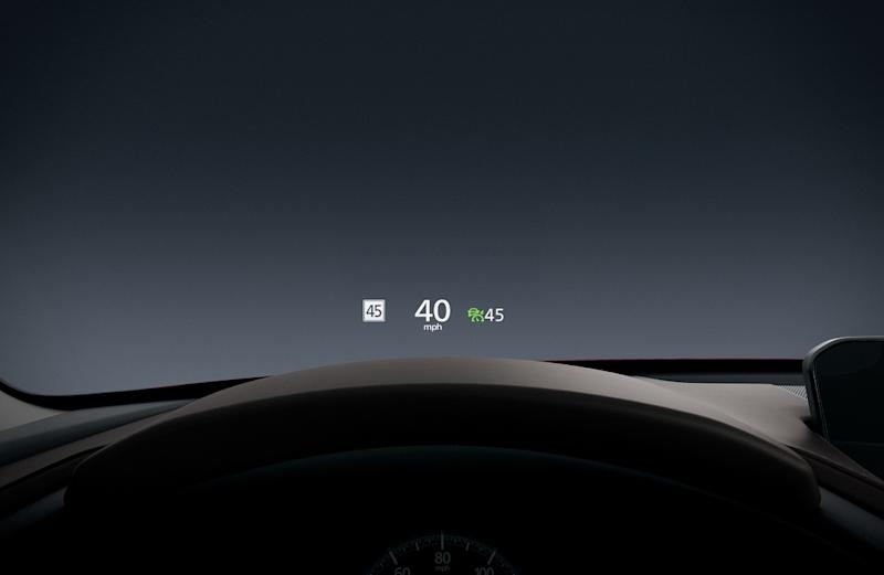 The Mazda windshield-projected active driving display projects key information in the driver's line of sight. — Picture courtesy of Bermaz Motor