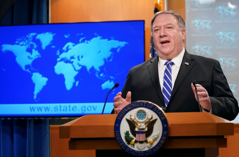 FILE PHOTO: U.S. Secretary of State Pompeo speaks to reporters during briefing at State Department in Washington