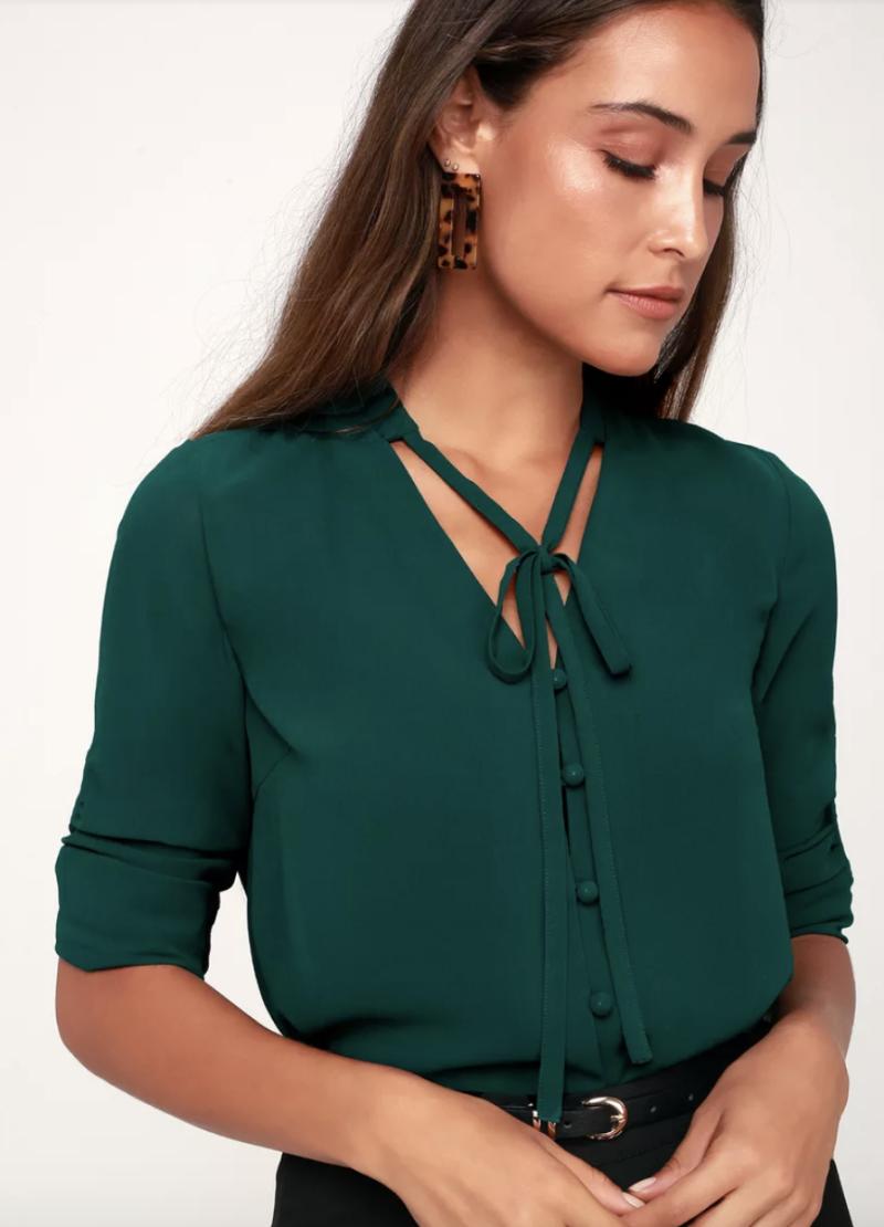 Lulu's Style Education Dark Green Blouse (Photo: Lulu's)