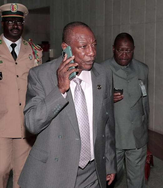 FILE PHOTO: Guinea's President Conde arrives for AU meeting in Addis Ababa