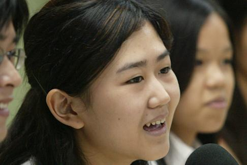 Anna Chan, convenor of the pro-democracy Secondary Students' Union, in 2003. Photo: David Wong