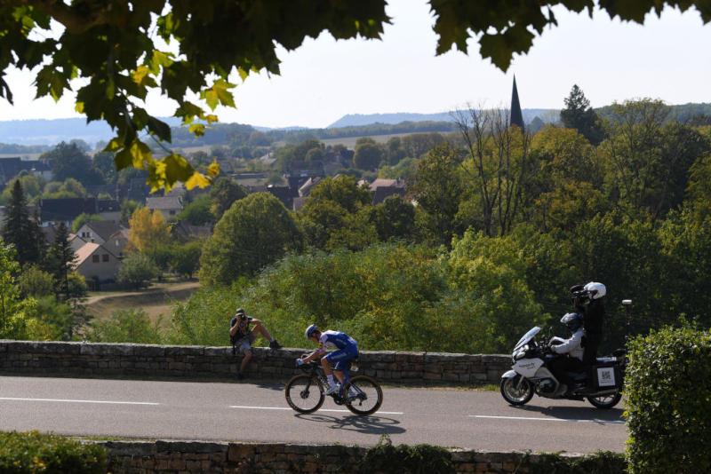 CHAMPAGNOLE FRANCE SEPTEMBER 18 Remi Cavagna of France and Team Deceuninck QuickStep Landscape during 107th Tour de France 2020 Stage 19 a 1665km stage from Bourg en Bresse to Champagnole 547m TDF2020 LeTour on September 18 2020 in Champagnole France Photo by Tim de WaeleGetty Images