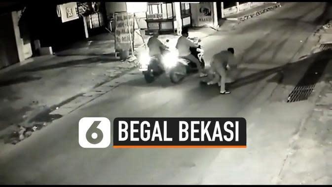 VIDEO: Polisi Buru Kawanan Begal Bercelurit di Bekasi yang Terekam CCTV