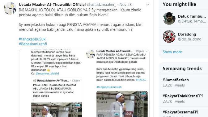 Tweet Ustaz Maheer tentang Abu Janda pada Kamis 28 November 2019. (Twitter @ustadzmaaher_)