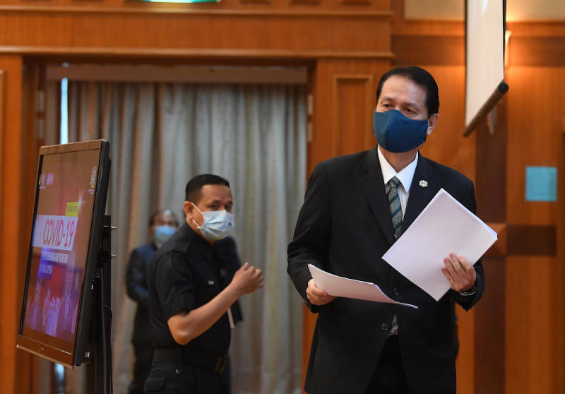 Health director-general Tan Sri Dr Noor Hisham Abdullah before presenting a report at a daily press conference on Covid-19 infection at the ministry in Putrajaya, September 29, 2020. — Bernama pic